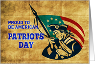 Patriot Day card featuring American revolutionary soldier with flag card