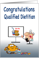 Newly qualified dietitian congratulations, fat cat humor, junk food, card