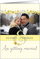 Wedding Invitation - Add Own Photo - Yellow Polka Dots and Watercolors card