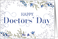 Happy Doctors' Day Card - Swirly Text and Flowers - Blue Gray Purple card