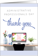Administrative Professionals Day - Office Desk and Thank You - Blue card