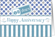 Employee Anniversary 10 Years - Jade Stripes Blue Dots Silver Sparkle card