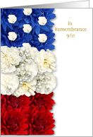 Patriot Day 9/11 In Remembrance - American Flag Floral Tribute card