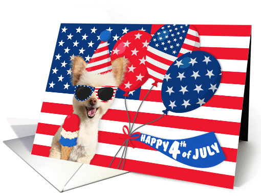 Happy 4th July Independence Day Patriotic Dog card (1438442)