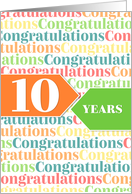 Employee Anniversary 10 Years - Colorful Congratulations Pattern card