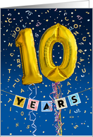 Employee Anniversary 10 Years - Gold Balloon Numbers card