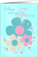 Amy Flower Girl Invite Card - Pretty Illustrated Flowers card