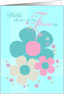 Willa Flower Girl Invite Card - Pretty Illustrated Flowers card