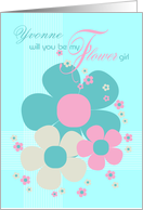 Yvonne Flower Girl Invite Card - Pretty Illustrated Flowers card