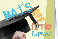 Nephew Graduation Congratulations Card - Hats Off To You - Summer Colors card
