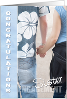 Sister Congratulations on Your Engagement Card - Holding Hands card
