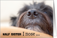 Half Sister Humorous Birthday Card - The Dog Nose card