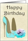 Happy Birthday, Turquoise Stiletto Shoes and Rose Card