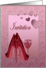 Party Invitation with Red Stiletto Shoes Art and Pink Hearts Card