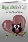 Happy Valentine's Day to Both of You, Owl and Heart Card