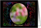 We're Engaged Photo Card - Colorful Swirls on Black Background card