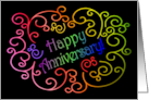Happy Anniversary to Employee, with Artistic Rainbow Swirls on Black card