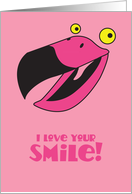 I love your smile! flamingo bird thinking of you card
