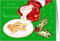Merry Christmas,dad and partner, santa with milk and cookie, snow card