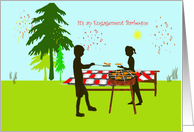 engagement Barbeque, silhouette couple, hot dog hamberger, backyard card