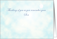 Thinking of you as you remember your son on his birthday, sun, blue clouds card
