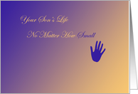 Remembrance Your son's life no matter how small, variegated background, handprint card