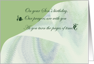 On your son's birthday, remembrance, edwardian script, turning pages card