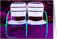 Happy Anniversary Two Chairs Together Forever Purple Modern card