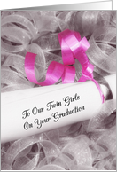 Girly Graduation Congratulations For Twin Girls With Pink Ribbon card