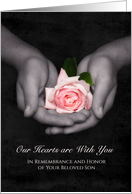 Remembrance Anniversary Loss of Son Pink Rose In Hands card