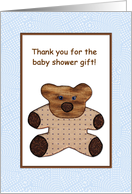 Thank You Baby Shower Gift - Cute Brown Teddy Bear - Quilt Style card