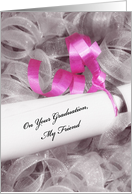 Girly Graduation Congratulations For Friend With Pink Ribbon card