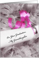 Girly Graduation Congratulations For Granddaughter With Pink Ribbon card