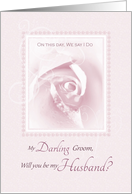 My Darling Groom, Will You Be My Husband, Delicate Pink Bridal Rose card