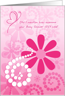Thank You For Awesome Baby Shower Gift, Girly Pink Retro Flowers card