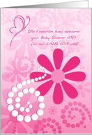 Cute Thank You For Girl Baby Shower Gift Pink Retro Flowers card