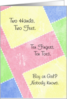 Cute Baby Gender Reveal Party Invitations Baby Footprints On Quilt card