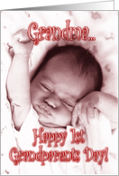 Happy 1st Grandparents Day Grandma -Stretching Baby Girl card