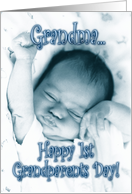 Happy 1st Grandparents Day Grandma -Stretching Baby Boy card