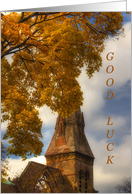 Steeple in Autumn-good luck in college card