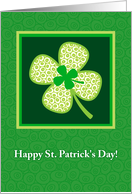Happy St. Patrick's Day, Cute Patterned Shamrock card