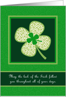 Luck of the Irish, St. Patrick's Day Whimsical Shamrock card