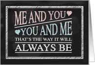 Anniversary, You and Me Chalkboard Poem card