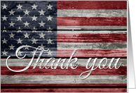 Veteran's Day Thank You, American Flag on Distressed Wood card
