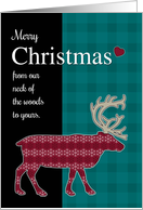 Merry Christmas from Our Neck of the Woods To Yours with Reindeer card