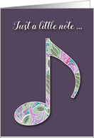 Music Note Thank You Card