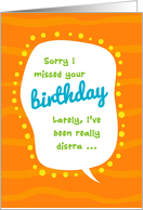 Humorous Belated Birthday, Distracted by Shoes Card
