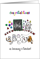 Congratulations on new job - Becoming a teacher - Cats in school card