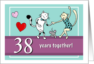 Happy 38th Wedding Anniversary, Two cats dancing card