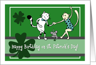 Happy Birthday on St. Patrick's Day, Two cats dancing card